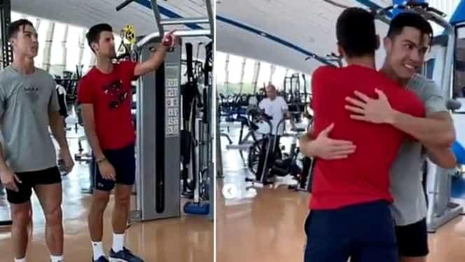 Cristiano Ronaldo, lecții pentru Novak Djokovic. Portughezul l-a învățat pe marele tenismen cum să sară la cap. VIDEO