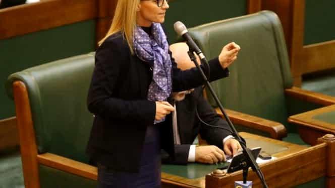 """Alina Gorghiu, scandal """"ca la piață"""" cu Șerban Valeca în plenul Senatului! Parlamentarii PSD urlă și bat în bănci"""