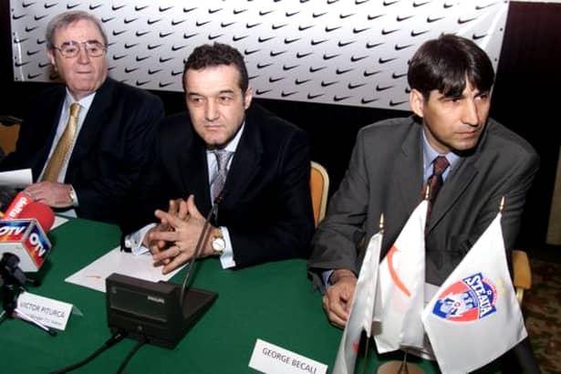Victor Pițurcă la lansarea oficiala a parteneriatului dintre Steaua și Nike, alătiri de Gigi Becali și Viorel Păunescu (2002)