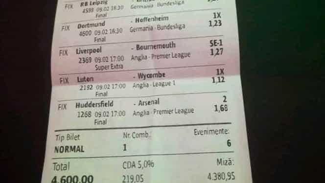 A dat lovitura vieții cu 6 meciuri pe un bilet de pariuri! Ce cote a prins cel mai fericit român al zilei