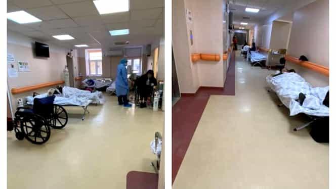Imagini șoc de la Institutul Matei Balș. Pacienții cu COVID-19, conectați la oxigen pe holurile spitalului. Video