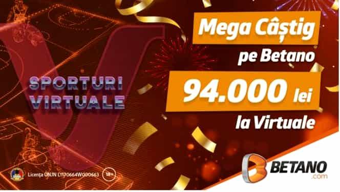 (P) Mega câștig pe Betano: aproape 100.000 de lei la Virtuale!