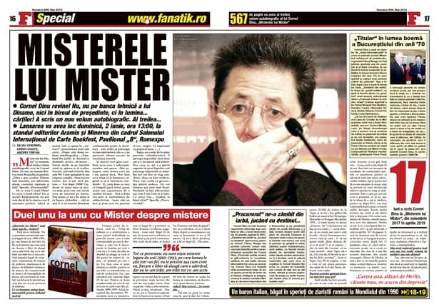 Mister Cornel Dinu a scris a treia carte autobiografică: Misterele lui MIster. Fragmente în premieră numai în revista FANATIK din mai! Plus interviu, plus prefață!