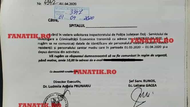 Document oficial. A început teroarea în România! Poliţia, prin Serviciul de Investigare a Criminalităţii Economice, cere datele tuturor medicilor care au demisionat din cauza coronavirusului! Exclusiv