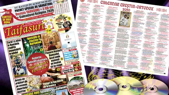 Revista TAIFASURI continuă seria surprizelor pentru cititorii săi! Pachet special de Sărbători: 3 CD-uri și calendarul creștin ortodox pentru noul an 2020! Numai cu revista TAIFASURI! Apare JOIA!