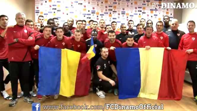 """VIDEO Dinamoviştii spun """"La mulţi ani, România!"""""""