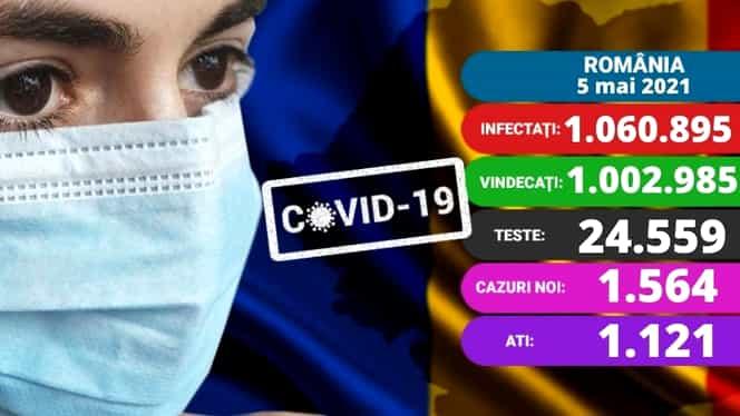 Coronavirus în România azi, 5 mai 2021. Crește numărul de cazuri noi. Vaccinare fără programare din 8 mai. Update