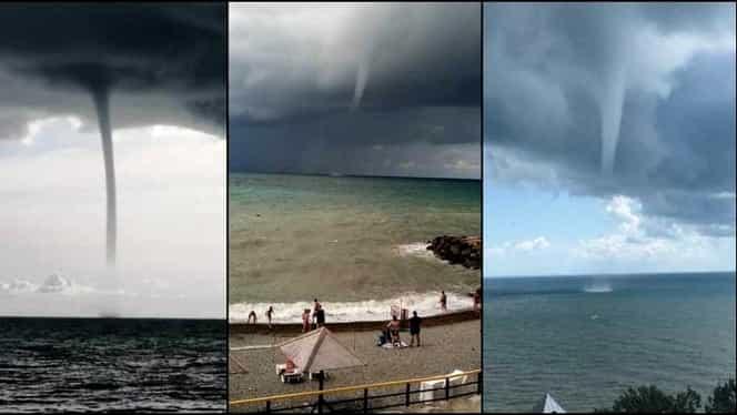 Tornade filmate în Marea Neagră! Fenomene extreme, nu departe de turiști