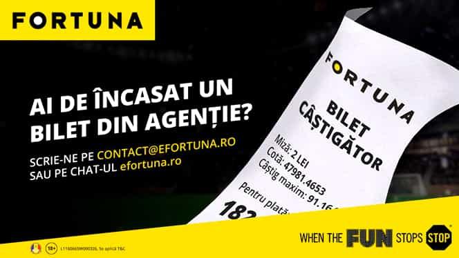 (P) FORTUNA. Modificări ale sistemului de lucru și plăți în Agențiile de Pariuri Sportive
