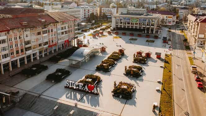 Cum arată orașul Suceava în carantină totală. Pe străzile pustii patrulează polițiștii și militarii. Foto