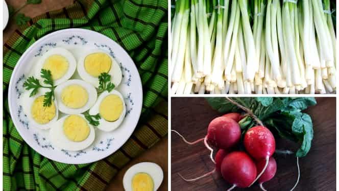 Cea mai bună rețetă de după Paște. Salată de ouă cu ridichi și ceapă verde. Se face simplu și rapid