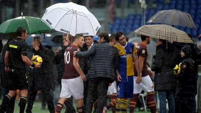 Meciul de la Roma a durat zece minute. Ploaia a dus la suspendarea partidei