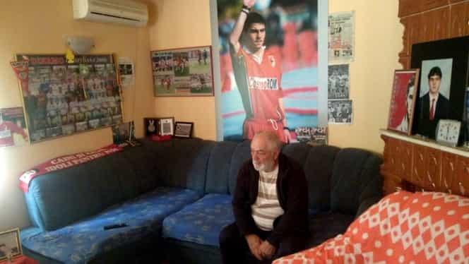 """Nea Marin Hâldan o să vadă meciul FCSB – Dinamo în camera lui Cătălin, neschimbată de 19 ani. """"Uite-așa mă uit eu împreună cu copilul meu la fotbal, că asta a fost viața lui prea scurtă, fotbalul…"""""""