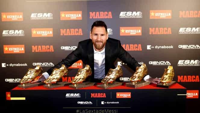 """Lionel Messi a câștigat cea de-a șasea """"Gheată de Aur"""" din carieră. Starul Barcelonei îl lasă în urmă pe Cristiano Ronaldo"""
