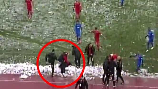 VIDEO / Antrenorul lui Sergiu Buş a fost făcut KO de un bulgăre de zăpadă!