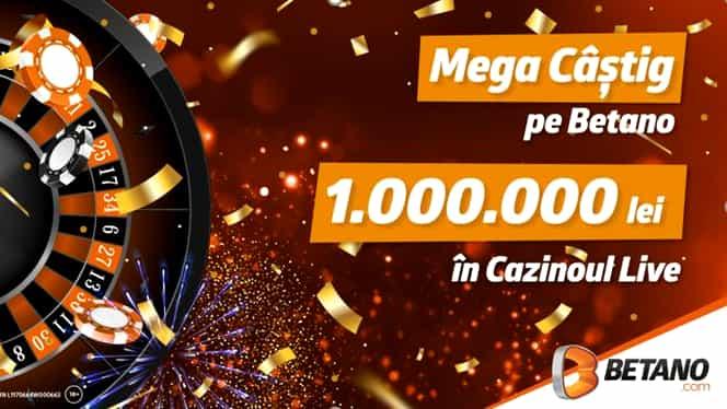 Mega câștig în Cazinoul Live Betano: 1.000.000 de lei la Ruletă