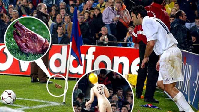 """Cum a fost atacat Luis Figo într-un El Clasico! Fanii Barcelonei, pedeapsă pentru """"trădătorul"""" portughez. Video"""