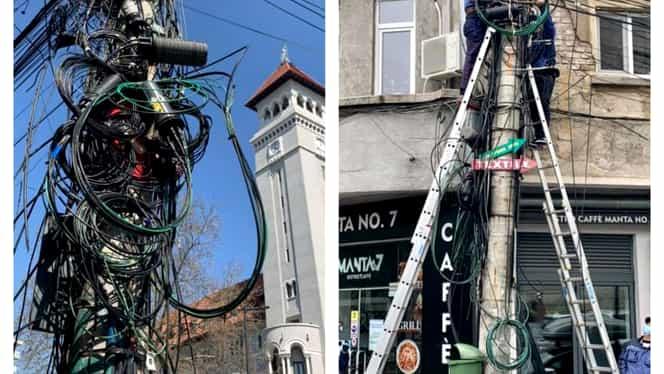 Hai liberare! Stâlpii de iluminat din Sectorul 1 sunt curățați de rețelele aeriene de cabluri