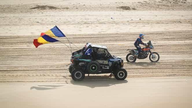 """Cu tricolorul în deşert! Primul om din lume care a terminat cursa Dakar fără navigator şi asistenţă: """"M-am simţit ca în Mad Max"""""""