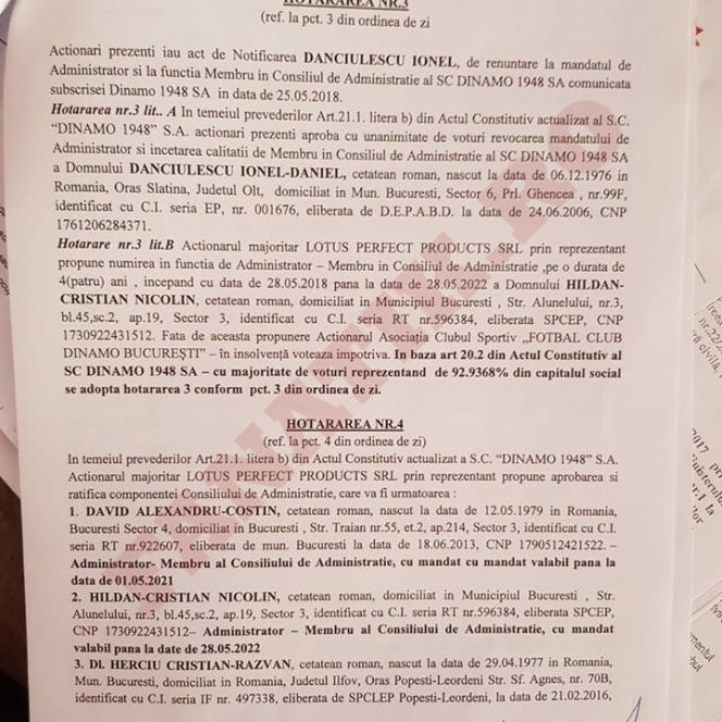 Hotărârile luate de Adunarea Generală Extraordinară a Acționarilor SC Dinamo 1948 SA. FACSIMIL 1