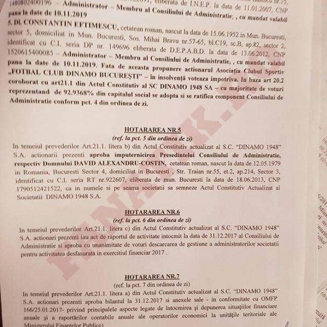 Hotărârile luate de Adunarea Generală Extraordinară a Acționarilor SC Dinamo 1948 SA. FACSIMIL 3