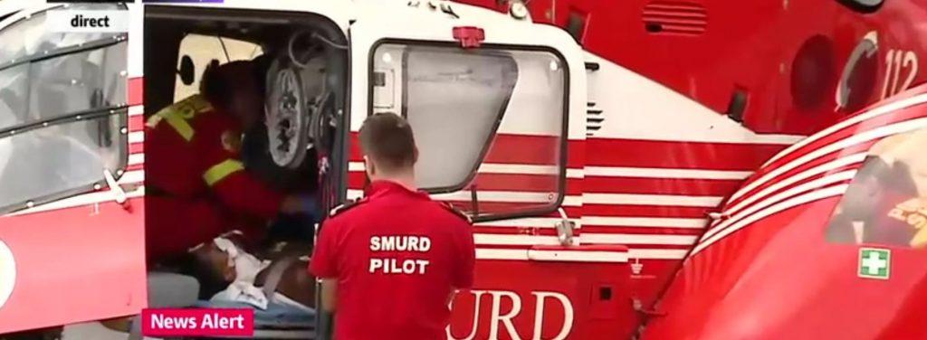 Darrel Bowie este adus cu elicopterul SMURD