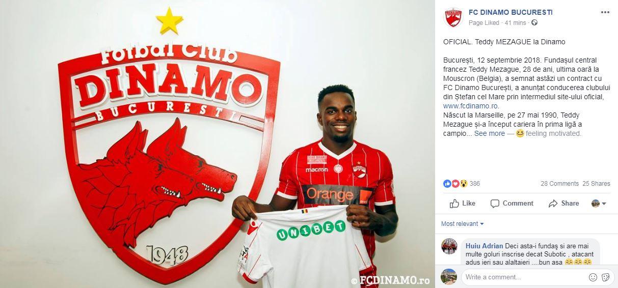 Teddy Mezague a semnat cu Dinamo