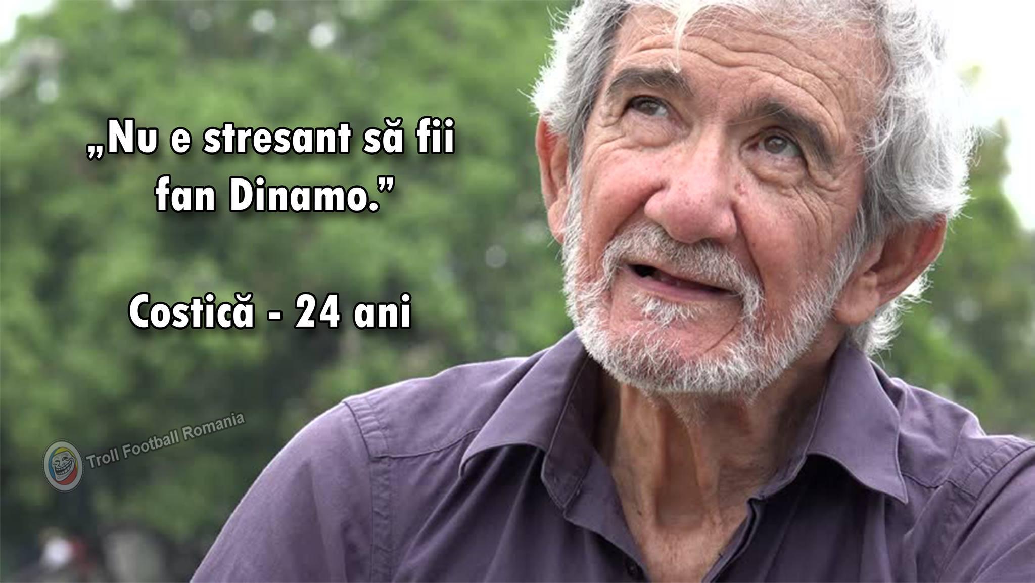 O fotografie apărută pe internet după ce Dinamo a fost eliminată de ce glume au apărut pe internet după Csikszereda. În imagine un bătrân care spune că nu e stresant să fii suporter Dinamo şi se spune ca ar avea 24 de ani