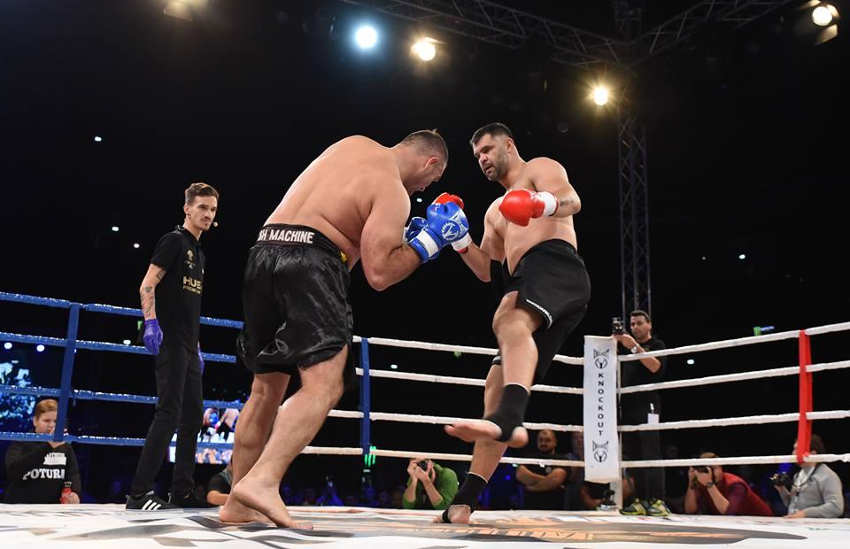 Daniel Ghiță în timpul luptei cu Dzevad Poturak, care a însemnat revenirea lui în K1