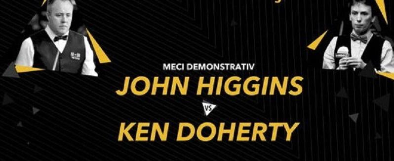 Campionii de snooker John Higgins şi Ken Doherty au jucat un meci demonstrativ la Cluj, în 2016 și au povestit întâmplări amuzante din carierele lor