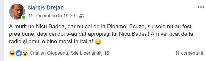 """Gafa anului: cum """"l-a omorât"""" Sport Total FM pe Nicolae Badea, fostul președinte de la Dinamo!"""