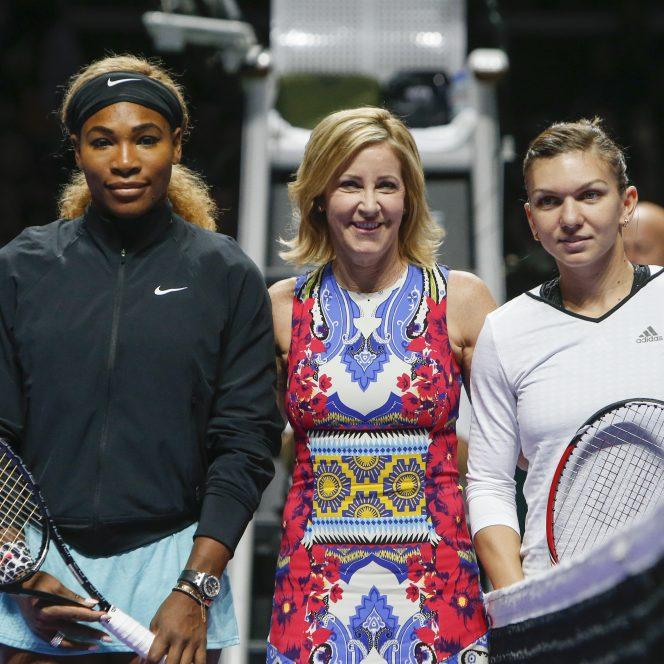 Chris Evert la meciul dintre Serena Williams şi Simona Halep