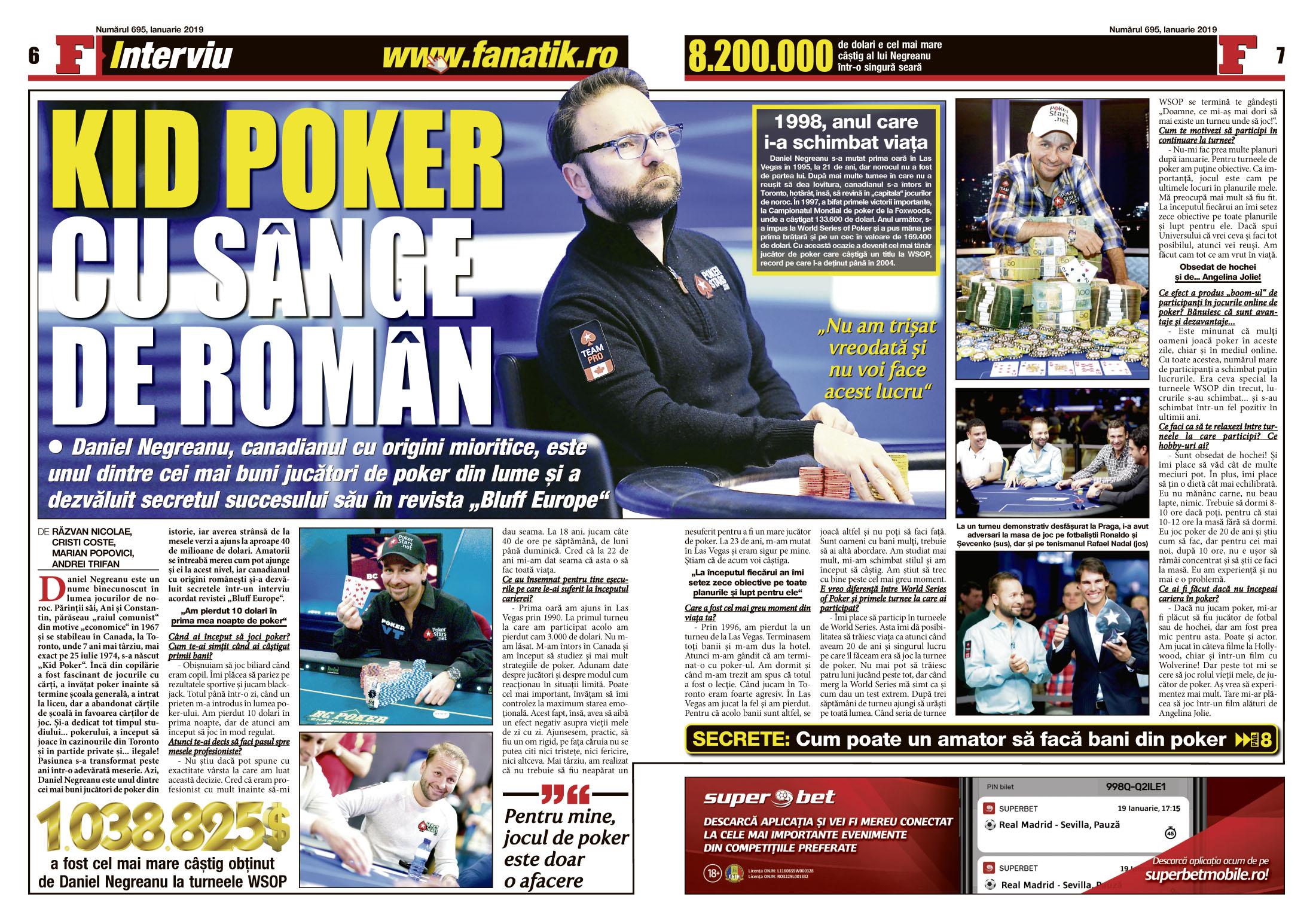 Daniel Negrenu, interviu spectaculos în revista FANATIK din ianuarie! Cel mai bun jucător de poker are