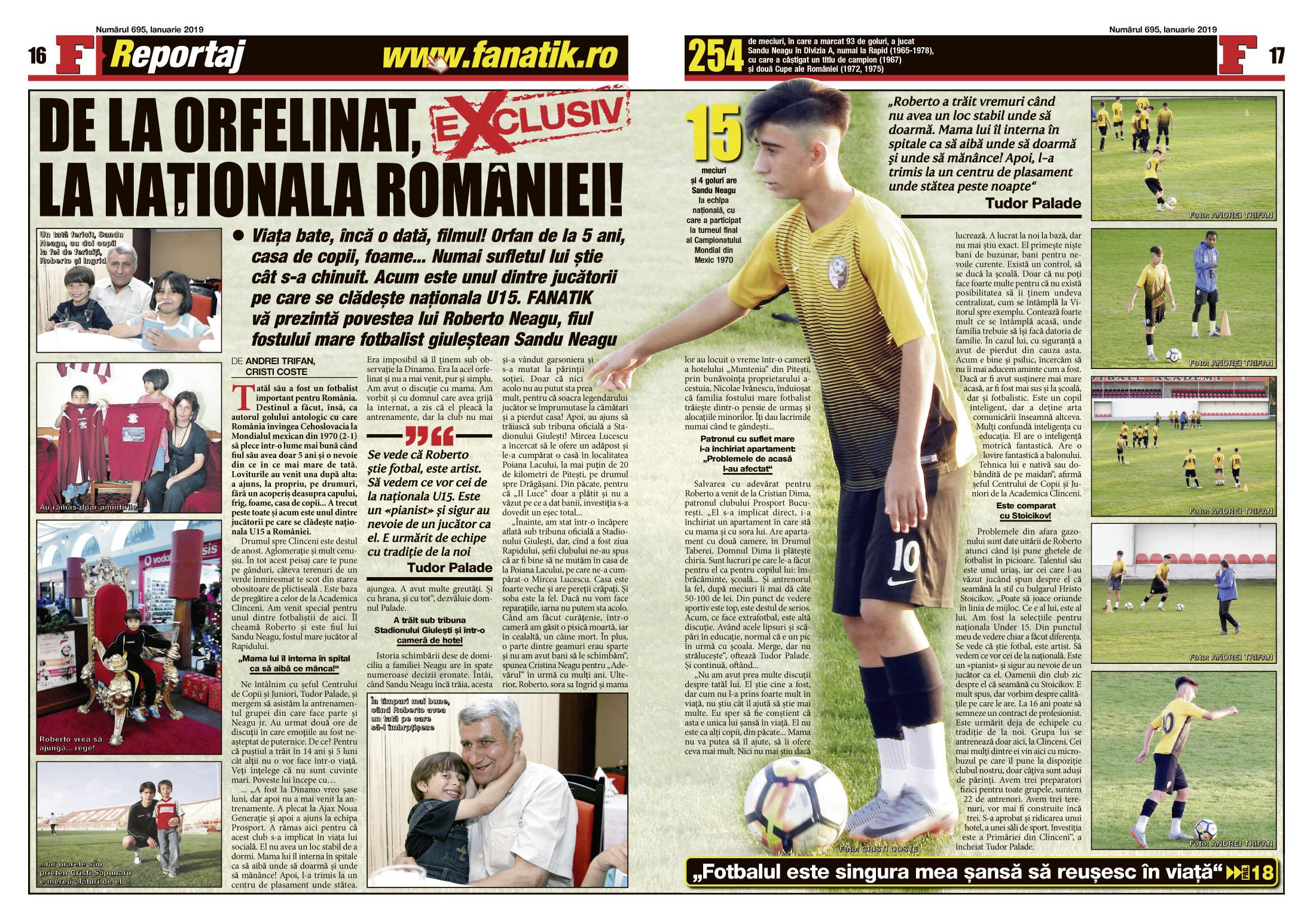 Roberto Neagu este una dintre speranțele fotbalului românesc. Află cum a supraviețuit, efectiv, dispariției tatălui său, din revista FANATIK pe ianuarie! Amănuntele sunt cutremurătoare!