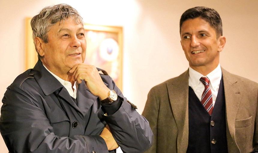 Mircea și Răzvan Lucescu la sărbătoriea unui secol de existență a clubului Sportul Studențesc, pe 8 noiembrie 2016. Între timp Șiman a desființat echipa...