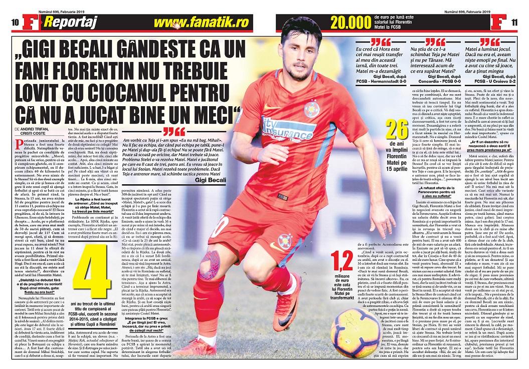 Revista FANATIK îți oferă un reporatj acasă la Florentin Matei, cu părinții acestuia, despre drumul, uneori neașteptat de greu, al fiului lor către fotbalul mare. Ce spun despre Gigi Becalia