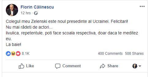 Mesajul postat de Florin Călinescu pe pagina sa de Facebook