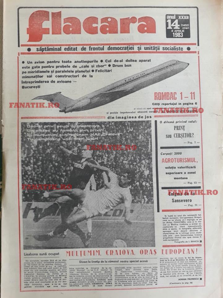Ce scriau Adrian Păunescu şi Ovidiu Ioaniţoaia după magicul Benfica - U Craiova 0-0