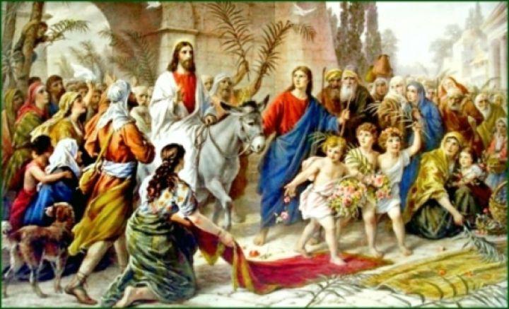 Intrarea triumfală a Mântuitorului Iisus Hristos în Ierusalim, înainte de Patimi, unde a fost întâmpinat de o mare mulţime de credincioşi cu ramuri de măslin şi de finic în mâini