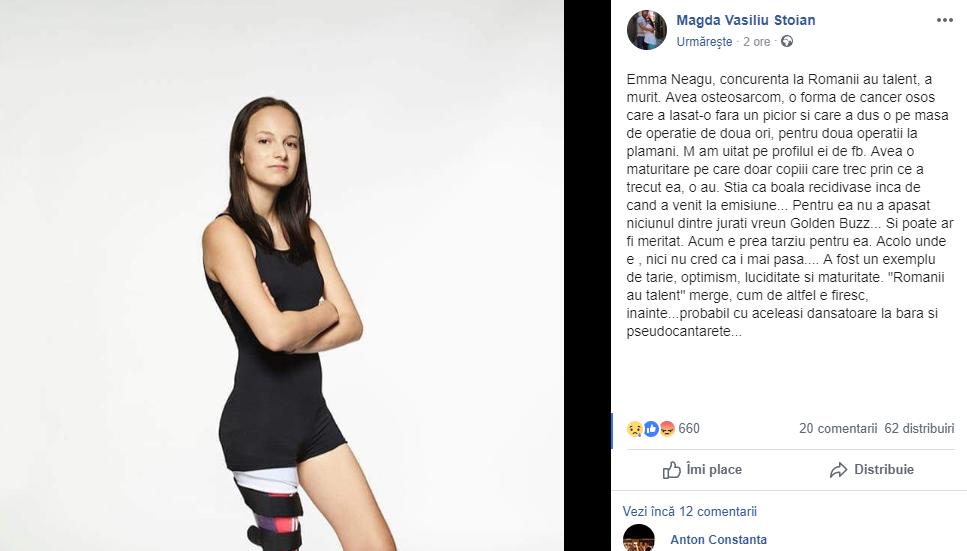 """Magda Vasiliu critică juriul Românii au Talent după moartea Emmei Neagu: """"Pentru ea nu a apăsat nimeni Golden Buzz"""""""