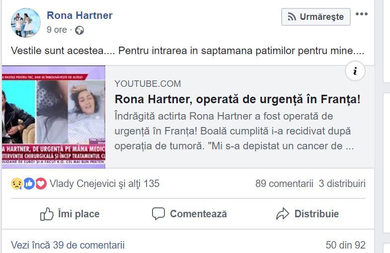 Mesajul transmis de Rona Hartner, la scurt timp după aflarea veștii că boala i-a recidivat