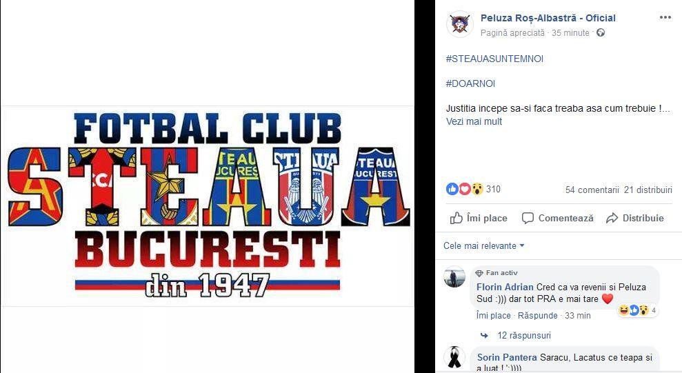 Mesajul postat de Peluza Roș-Albastră după decizia Curții de Apel București în cazul mărcii Steaua