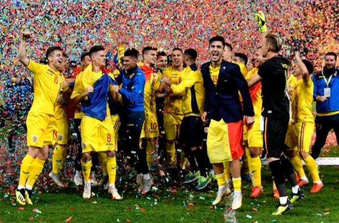 Bucuria jucătorilor României U21 după calificarea la EURO 2019