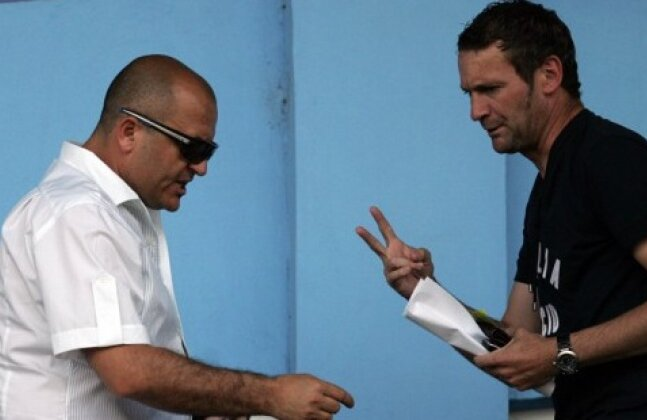 Adrian Mititelu şi Gică Craioveanu în tribunele stadionului Ion Oblemenco