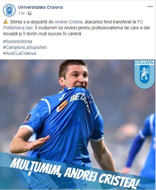 Andrei Cristea, pe lista neagră de la Universitatea Craiova! Cine sunt jucătorii care pleacă de la echipă. EXCLUSIV