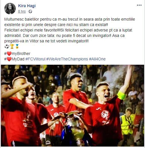 Kira Hagi, mesaj emoționant după finala Cupei României Pregătiți-vă în Viitor să ne vedeți învingători!