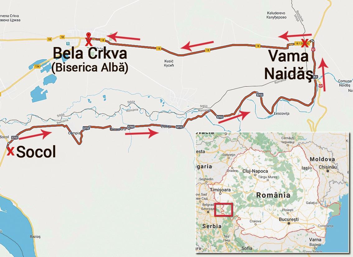 Traseul dezertării lui Belodedici din România în 1988: Socol - Vama Naidăş - Biserica Albă