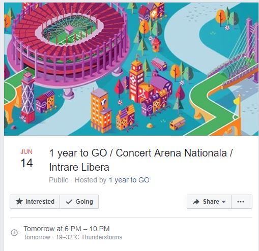 Concert pe Arena Națională, cu ocazia faptului că mai avem un an până la găzduirea Euro 2020 *foto: captură facebook