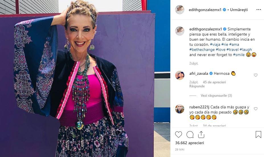 Edith Gonzalez, ultima fotografie publicată pe instagram *captură instagram
