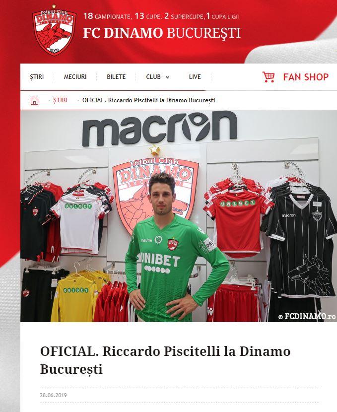 Riccardo Piscitelli a semnat cu Dinamo! Anunțul oficial al câinilor. FANATIK confirmat